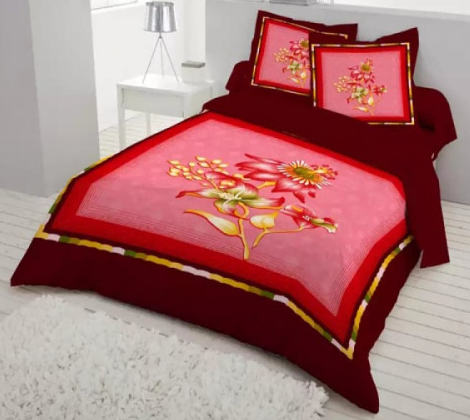 Multicolor Print Double King Size Bed Sheet