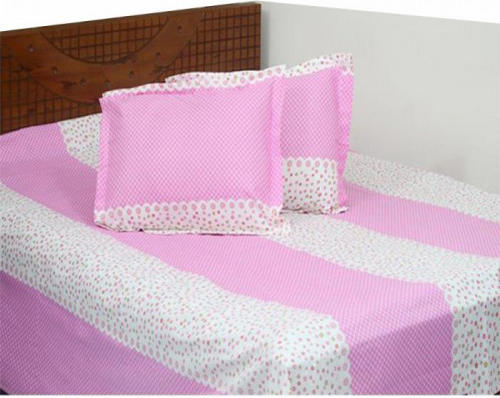 Pink & White Ball Printed Double Size Bed Sheet