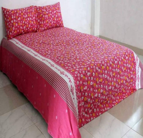 Matching Pillow Cover Double Size Cotton Bed Sheet