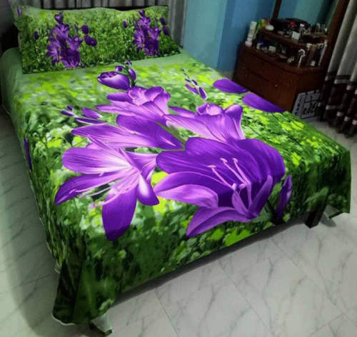 Multicolor Print Cotton Fabric 7.5 by 8 Feet Bed Sheet