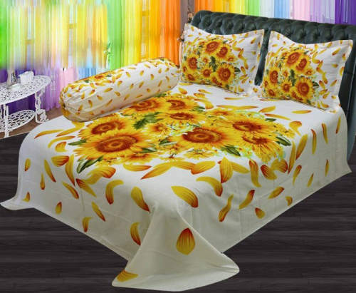 Sunflower Print Double Cotton Bed Sheet