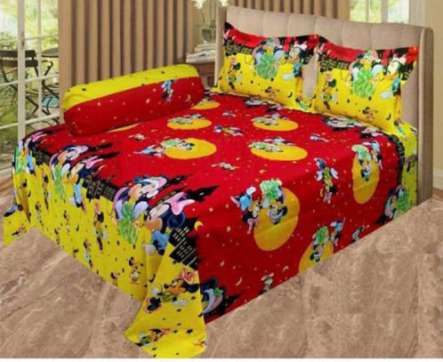 Cartoon Printed Double Bed Cover with Pillow Cover