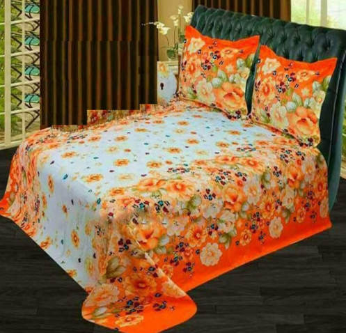 Floral Print Double Size Cotton Bed Sheet