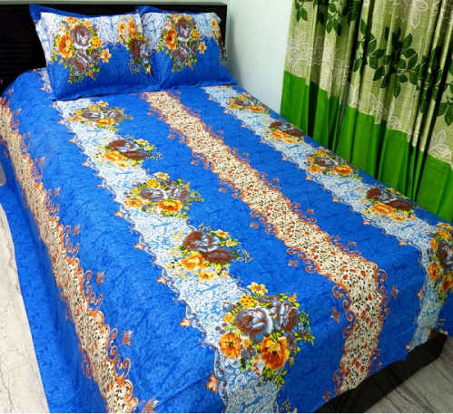 King Size Bangla Cotton Blue Color Bed Cover
