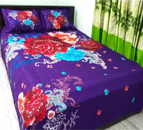 Blue Color Pure Cotton Double Size Bed Sheet