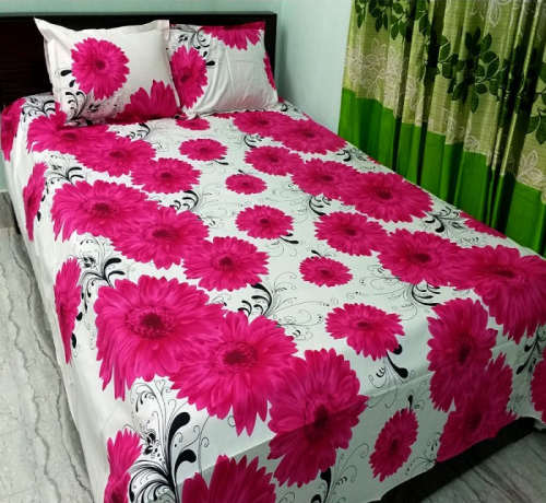 Classical Flower Print Double Size Cotton Bed Sheet