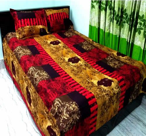 Multi Color Cotton Full Size Double Bedsheet