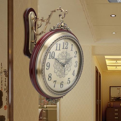 Retro Double-Sided Bedroom / Living Room Wall Clock
