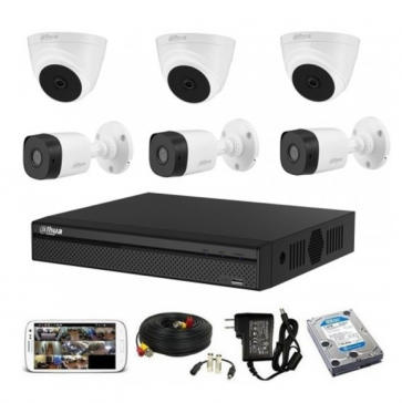 CCTV Package Dahua 8-CH XVR with 6 Pcs Camera