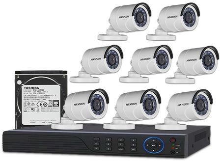 CCTV Package Hikvision 8CH DVR 8 PCS HD Camera 1000GB HDD