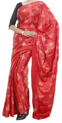 Latest Designed Printed Silk Saree With Matching Blouse