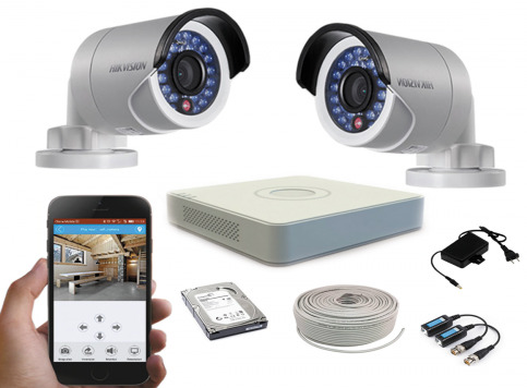 Hikvision CCTV Package 4CH DVR 2 PCS Camera 500GB HDD