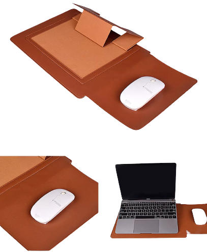 Pure Leather Sleeve Laptop Bag with Stand and Mouse Pad