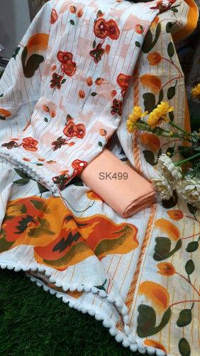 Screen Print Cotton Fabric Salwar Kameez SK449