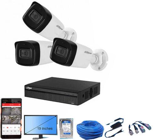 "CCTV Package Dahua 3 Pcs Camera 4-CH XVR 19"" Monitor"