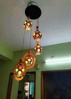 Wooden Hanging Light Lamp of Coconut Shell