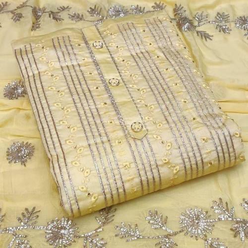 Unstitched Golden Color Salwar Kameez