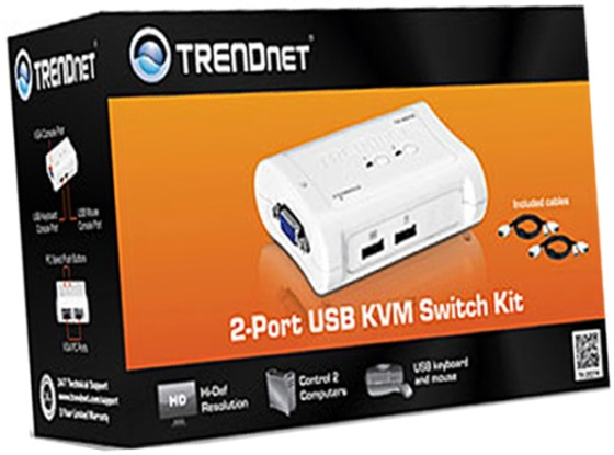 Trendnet 2-Port USB KVM Switch Kit with Cables TK-207K ~Many Available~~New~