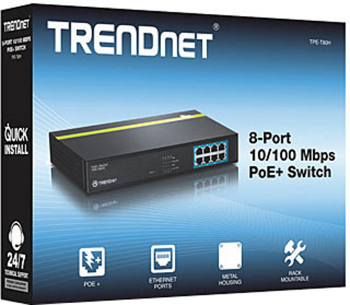 Trendnet TPE-T80H 8 PoE LAN Ports 10/100 Mbps PoE+ Switch