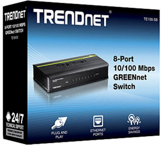 Trendnet TE100-S8 8-Port Greennet Unmanaged LAN Switch