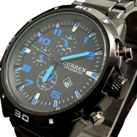 Curren 8021 Blue Pointer Pu Band Analog Men Hand Wrist Watch