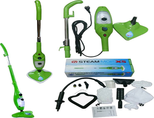 Steam Cleaner H20 MOP X5 Hand held 5 In 1 Green Cleaning