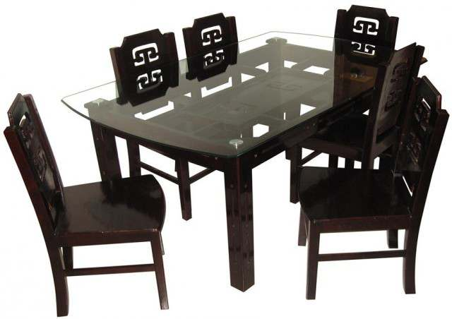 Dining Table Set Modern Home Furniture 6 Chairs Solid MDF