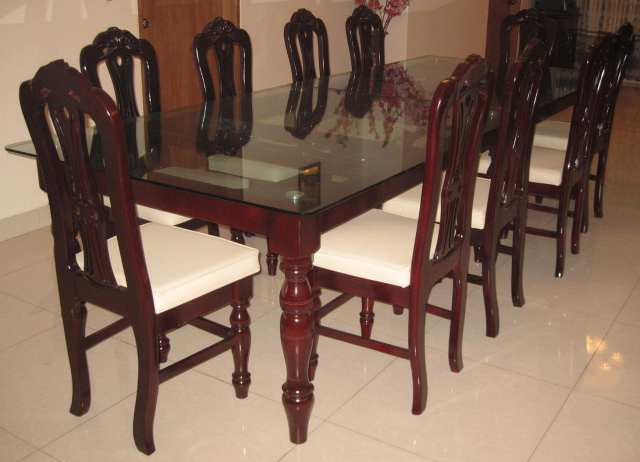 Dining table set modern home furniture mahogany wood mdf