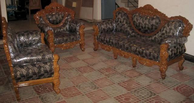 Modern 6 Seater Sofa Set Furniture Solid Wood Fabric Sl178