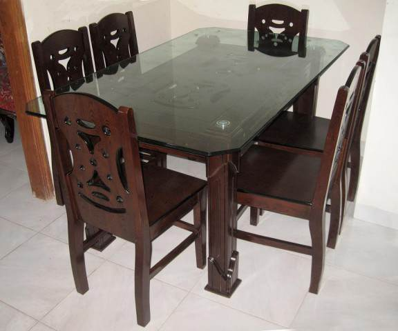 Modern Dining Table Solid MDF Wood Furniture With Six