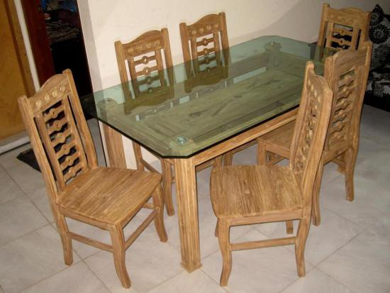 Modern Dining Table Six Chairs Glass Top D57f Furniture