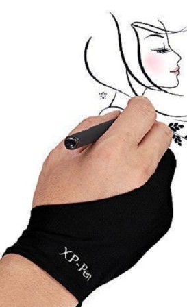 XP-Pen Artist Lycra Friction Reduction Black Hand Gloves