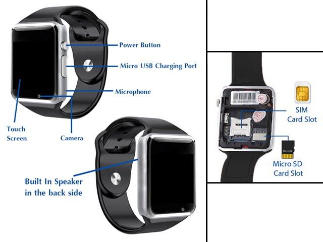 A1 Smart Mobile Watch Sim And Sd Card Slot 1 5 Inch Lcd Price