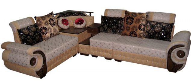 L Shaped Sofa Set Solid Wood Corner And Side Table Sl208