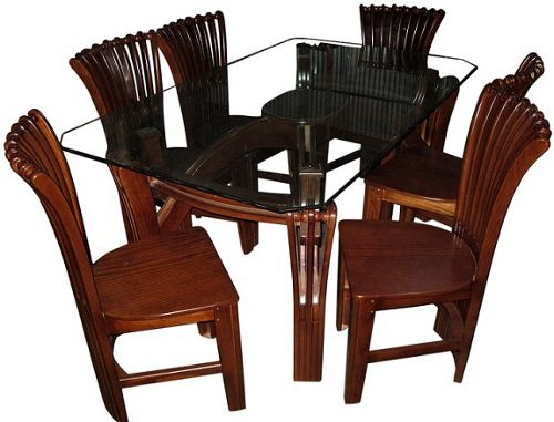 Dining Table Furniture Set 6 Chair 10m Glass Veener Wood Price