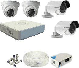 CCTV System Hikvision DS-7104HGHI-E1 Recorder 4-HD Camera