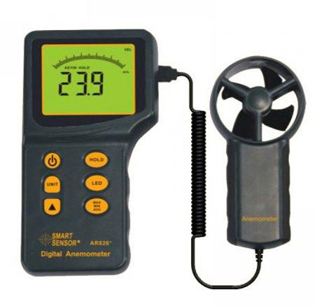 AR826 Digital Anemometer Wind Speed Tester Backlight Display