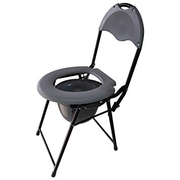 "Commode Chair 14 x 14.5"" Folding and Stainless Steel"