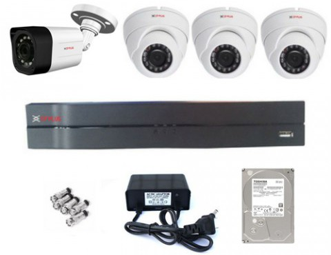 CCTV Package CP Plus 4-Channel DVR 4Pcs Camera 1TB HDD