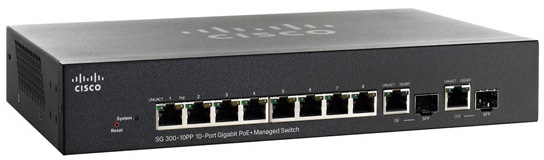 Cisco SG300-10PP 10-Port 10/100 PoE+ Managed Switch
