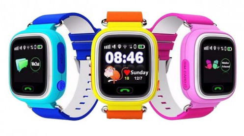 Touch Screen Q90 GPS Tracker Leather Strap Smartwatch