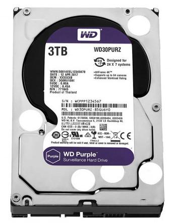 WD Purple 3TB Surveillance HDD SATA 64MB Cache WD30PURZ