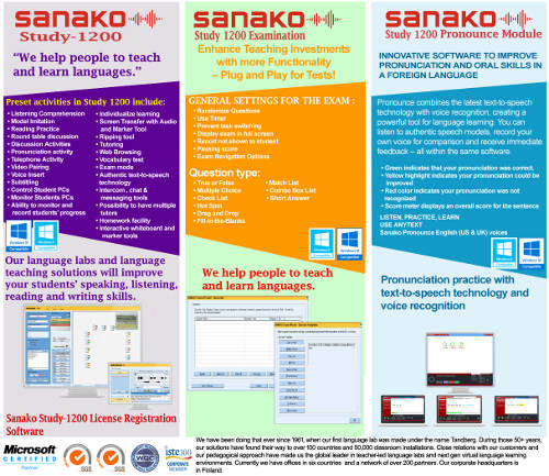 Sanako Study-1200 Digital Multimedia Language Lab