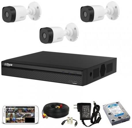 CCTV Package Dahua DH-HCVR4104HS 4-CH DVR 3 Pcs Camera