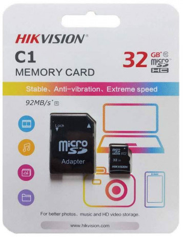 Hikvision C1 32GB MicroSD Memory Card with Adapter