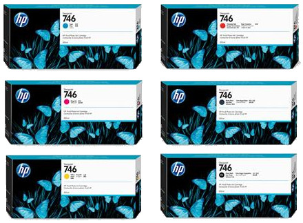 HP 746 300ml Designjet Z6 Printer Cartridge Set